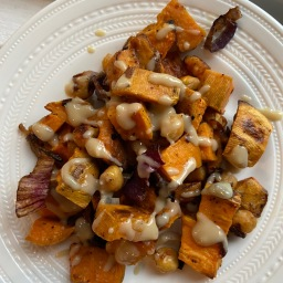 Roasted Sweet potato and Chickpea Salad with Tahini Dressing